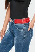 Missguided Red Plait Detail Belt