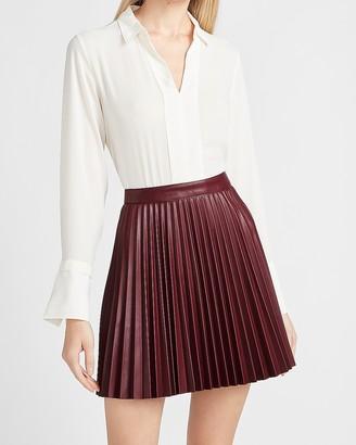 Express High Waisted Pleated Vegan Leather Mini Skirt