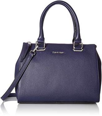 Calvin Klein womens Halle Pebble Leather Top Zip Key Item Satchel