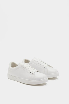 Nasty Gal Womens Faux Leather Lace-Up Trainers with Flat Sole - White - 3
