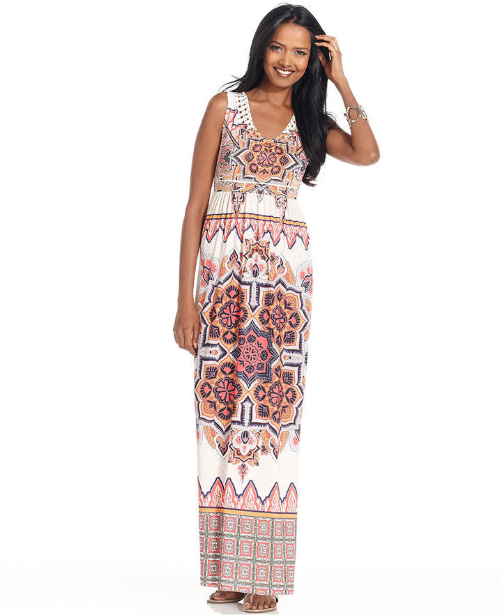 Style&Co. Petite Dress, Sleeveless Exotic-Print Jersey Maxi