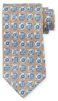 Kiton Diamond-Print Silk Tie, Brown
