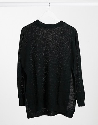 UNIQUE21 side split jumper in black