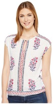 Lucky Brand Wood Block Floral Top Women's Clothing