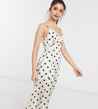 Outrageous Fortune Petite midi slip dress with lace up side detail in cream polka