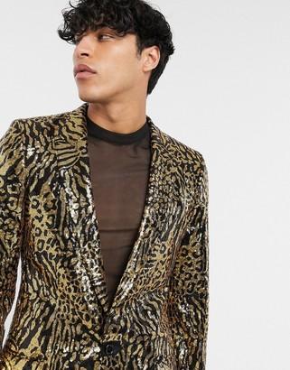 ASOS DESIGN skinny longer length suit jacket in tiger sequin