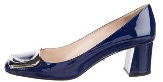 Prada Square-Toe Patent Leather Pumps