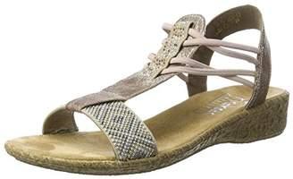 Rieker Women's 61662 Closed Toe Sandals, (Beige/Rose 60)