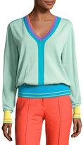 Diane von Furstenberg Long-Sleeve V-Neck Pullover Knit Top, Blue