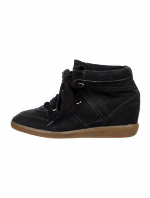 Isabel Marant Suede Whipstitch Trim Lace-Up Boots Blue