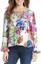 Karen Kane Floral Print Lace-Up Top