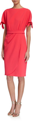 Rickie Freeman For Teri Jon Tie-Sleeve Drape-Skirt Crepe Dress