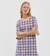 Monki oversized t-shirt in pink check