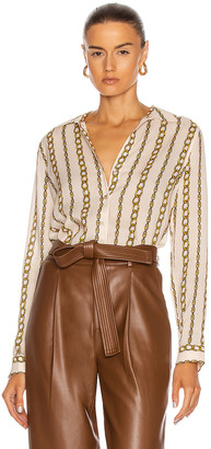 L'Agence Holly Long Sleeve Blouse in Ivory & Gold Large Chain | FWRD