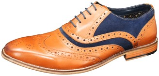 Curito Clothing Curito Charlbury Men's Smooth Leather Brogue Detail Oxford Shoes - Tan & Navy Suede