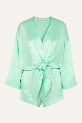 Nanushka Elisir Tie-detailed Hammered-satin Playsuit - Mint