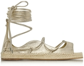 DSQUARED2 Riri Gold Laminated Nappa Leather Lace-up Flat Espadrilles