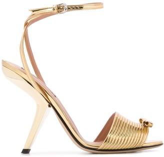 Marco De Vincenzo Metallic Bow Sandals