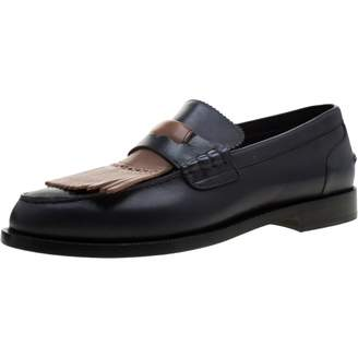 Burberry Navy Leather Flats