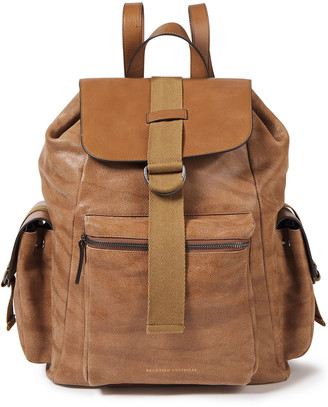 Brunello Cucinelli Paneled Textured And Brushed-leather Backpack