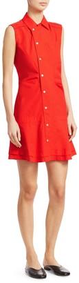 Derek Lam Sleeveless Ruched Poplin Dress