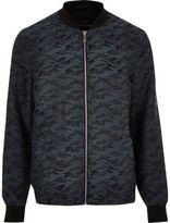 River Island Mens Turquoise camo jacquard bomber jacket