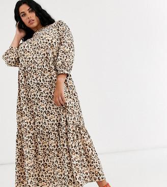 ASOS DESIGN Curve tiered maxi dress in leopard print