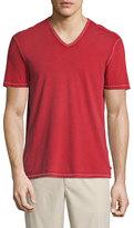 John Varvatos Contrast-Stitch V-Neck T-Shirt, Red