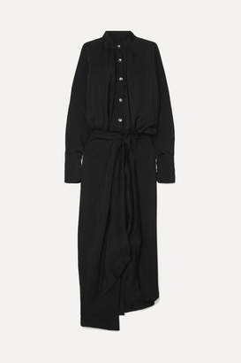 Petar Petrov Asymmetric Twill Shirt Dress - Black