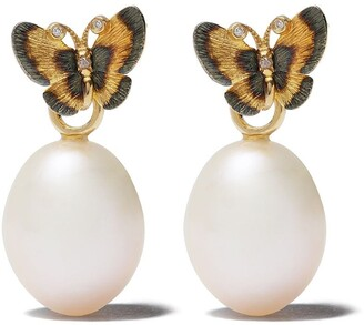 Annoushka 18kt Gold Diamond Butterfly Earrings