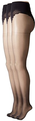 Hue So Sexy French Lace Sheer Control Top Pantyhose (3-Pack) (Black) Control Top Hose