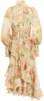 Zimmermann Lace-up Ruffled Floral-print Linen And Silk-blend Midi Dress