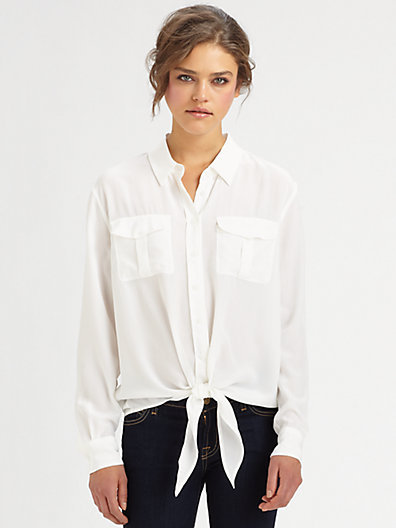 Equipment Dylan Tie-Front Silk Shirt