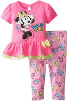 Disney Baby Baby-Girls Newborn Minnie Mouse Legging Set with Bow and Peplum Top