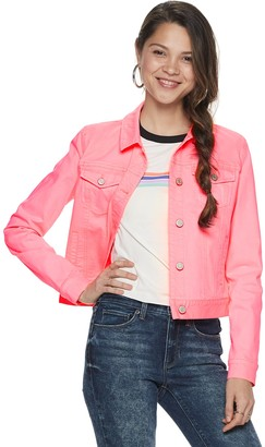 Mudd Juniors' Neon Pink Denim Jacket