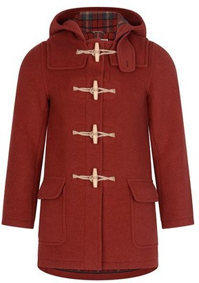 Burrows & Hare - RED TWILL WATER REPELLENT WOOL DUFFLE COAT - S
