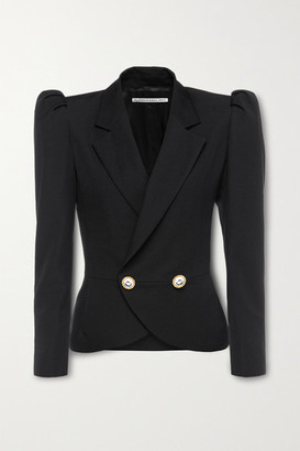 Alessandra Rich Crystal-embellished Double-breasted Wool Blazer - Black