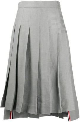 Thom Browne 4-Bar Stripe Pleated Skirt