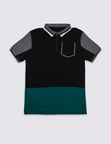 Marks and Spencer Pure Cotton Colour Block Polo Shirt (3-14 Years)