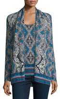Neiman Marcus Cashmere Collection Medallion Open Cashmere Cardigan