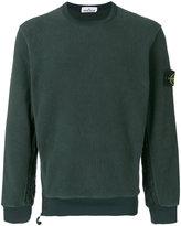 Stone Island fleece logo patch sweatshirt