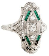 Ring 18K Art Deco Diamond & Synthetic Emerald Cocktail