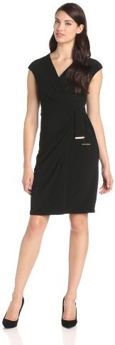 Anne Klein Women's Cap Sleeve Crepe Jersey Sarong Dress