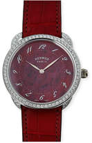 Hermes 41mm Arceau Alligator Strap Watch with Diamonds