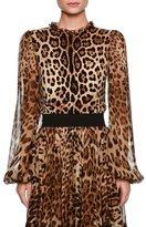 Dolce & Gabbana Leopard-Print Sheer-Sleeve Blouse, Brown/Black Leopard