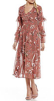 WAYF Olivia Tiered Ruffle Sleeve Floral Midi Dress
