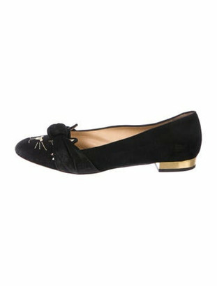 Charlotte Olympia Kitty Suede Ballet Flats Black