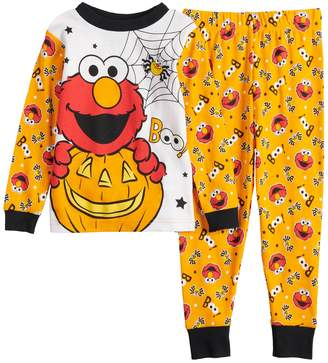 Sesame Street Licensed Character Toddler Boy Elmo Glow-in-the-Dark Halloween Top & Bottoms Pajama Set
