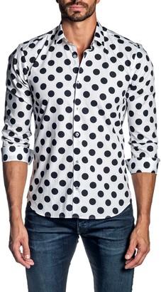 Jared Lang Regular Fit Dot Button-Up Shirt
