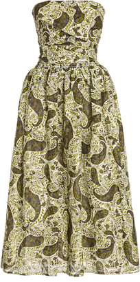Ciao Lucia Gia Printed Cotton-Silk Strapless Dress